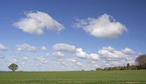 Spring clouds: Landscape of West Sussex, England, in spring.