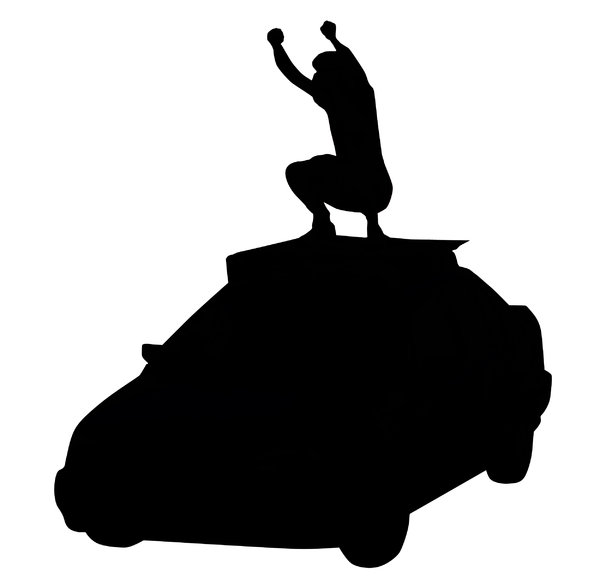 A dancer on a car's roof