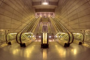 Escalators in Metro - HDR: Moving escalators in Copenhagen Metro. The image is HDR.