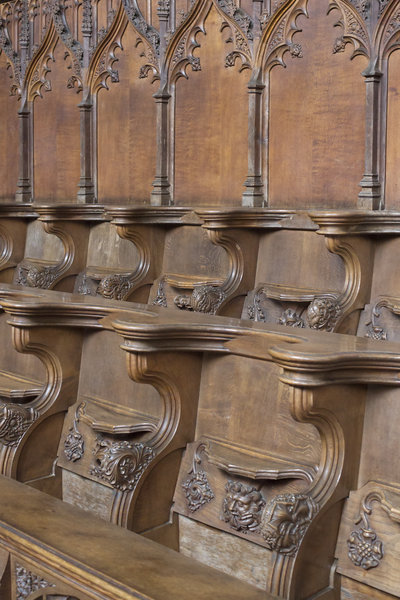 Carved wooden choirstalls