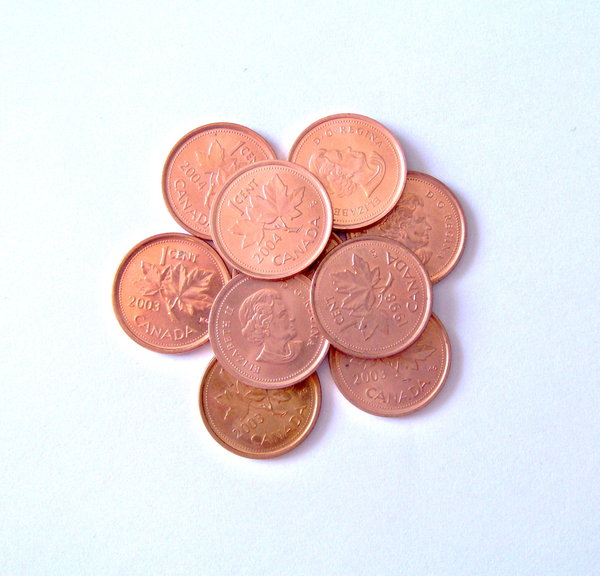 Canadian Pennies: A nice picture of some Canadian Pennies.