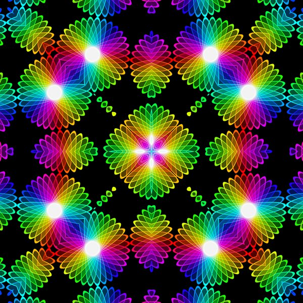 Kaleidoscopic Tile 5: A beautiful, glowing rainbow kaleidoscope of colour gradients and floral shapes, tileable for use as a fill, texture, background or element. All against a black background, which makes the colours zing.