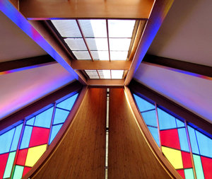 colour corner inside1: interior view of  abstract stained glass windows
