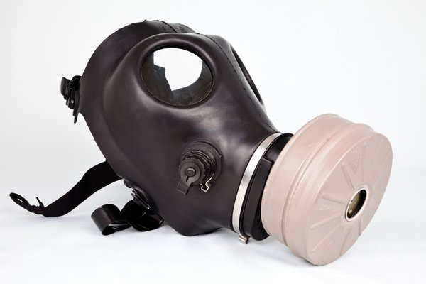 Gas Mask: Black gas mask isolated on a white background.
