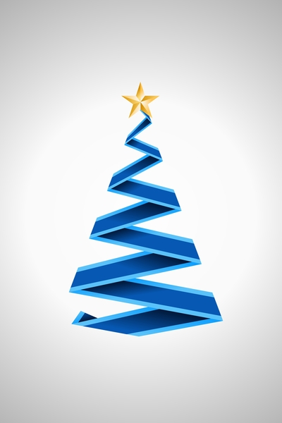 Origami Christmas Tree 2B: Blue origami christmas tree on the silver background