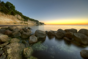 Morning - HDR: Very early morning ligth at Stvens Klint, a chalk cliff in Denmark. The image is HDR.