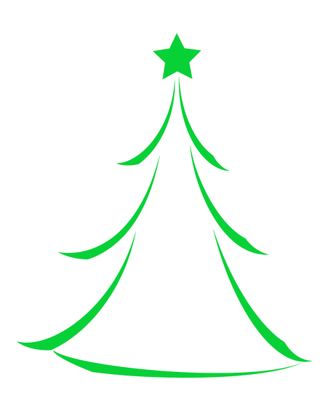 Christmas Tree Icon 3: Minimalist abstract Christmas tree icon on white background.