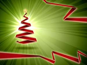 Green Christmas Background: Green christmas background with red origami christmas tree