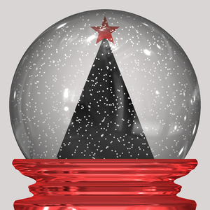Christmas Snowglobe 1: A sparkly Christmas snowglobe with a black xmas tree, white snow and a red metal base.