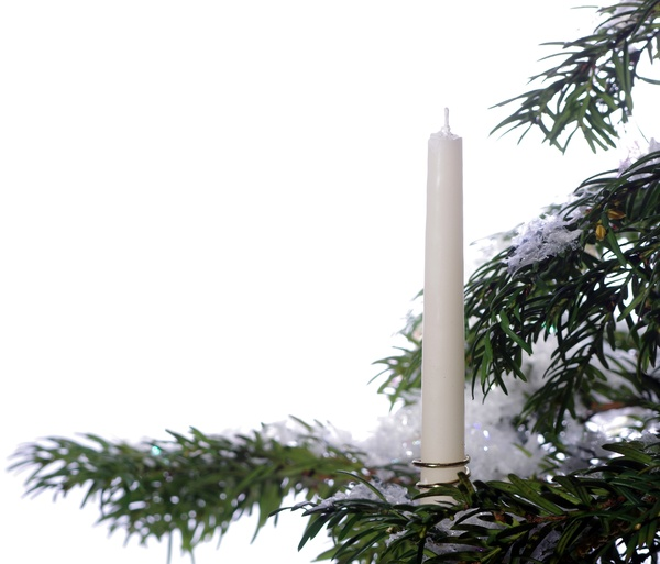 Candle on a christmas tree