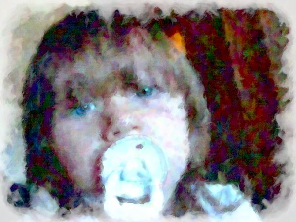 Impressionist Child: An arty impressionist image of a young child with a pacifier or dummy, staring wistfully. Can represent a range of positive or negative things. The child is not recognisable, but if a release is required, it can be arranged.