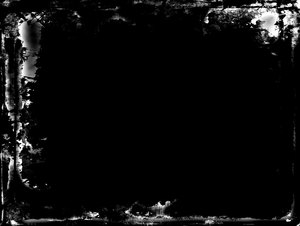Grungy Border 4: A messy, grungy white border or frame on a black background. Plenty of copyspace.