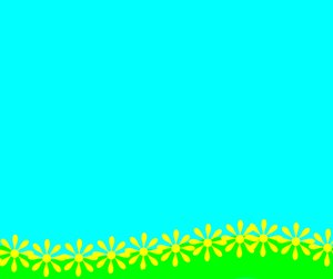 Summer Background: A warm summer background of green grass, blue sky and yellow flowers. Can be used for a flyer, backdrop,poster, illustration, etc.