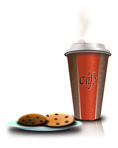 Cafe&cookies: vector image of coffee cup's and cookie
