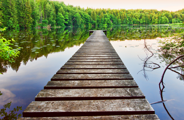 Old Jetty: Old Jetty on a hidden Lake, Sunset