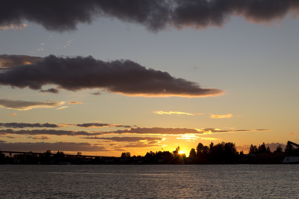 River sunset: The Fraser River, Canada, at sunset.