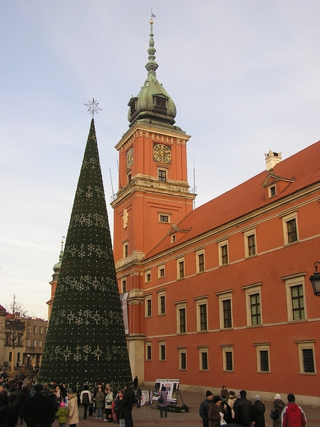Warsaw Christmas Tree: A Christmas Tree near King's Castle. Old Town, Warsaw.