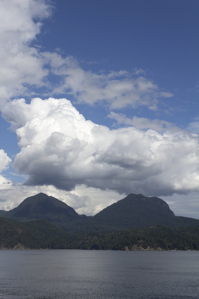 Heavy cloud, twin mountains