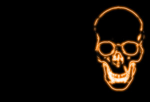Skull 8: Spooky halloween image made from a public domain image of a skull. Yellow neon light against a black background and plenty of copyspace. Could be used as an invitation.