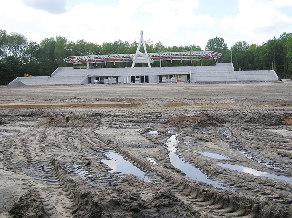 Stadium construction site: A stadium in Sulejówek.