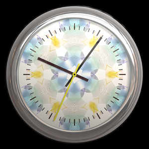Round Clock with Design: A round clock with a siver trim and a decorative background.