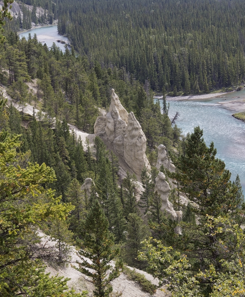 Valley with hoodoos: Hoodoos (isolated eroded rock stacks left over from past glaciation) in a river valley near Banff, Canada.