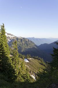 Mountain valley: A mountain valley in evening light high in the Cascades, USA.