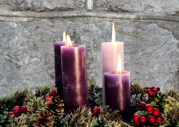 Advent Wreath: Traditional Advent Wreath, each candle representing the 4 weeks of  Advent.