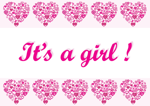 I Heart Border pink Its a girl