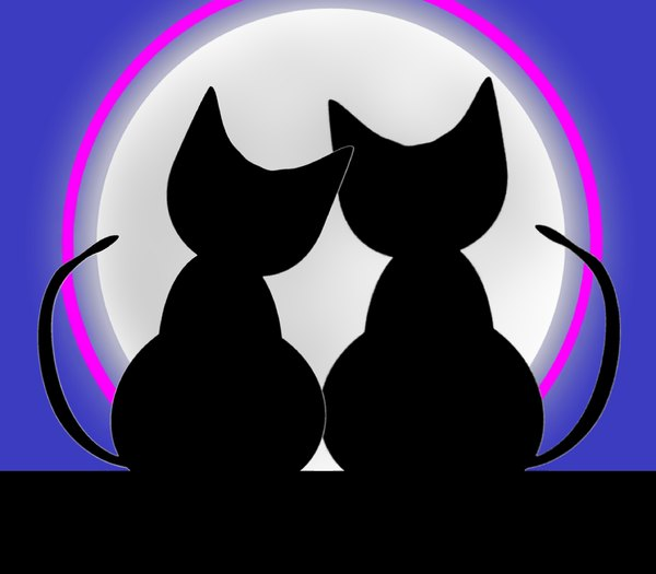 Valentine Cats 2: Two cats in love silhouetted against a big moon. Can illustrate a lot of things, including love, valentine's day, anniversary, honeymoon, etc.
