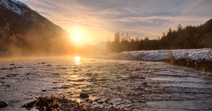 Obere Isar River Winter Sunset