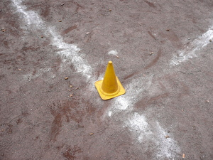 Training: Sand training course with lines and a yellow rubber cone