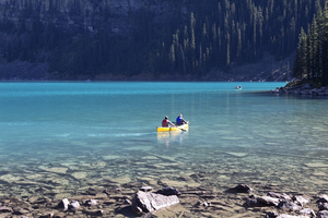 Canoeists: Canoeists on Lake Moraine, Canada.