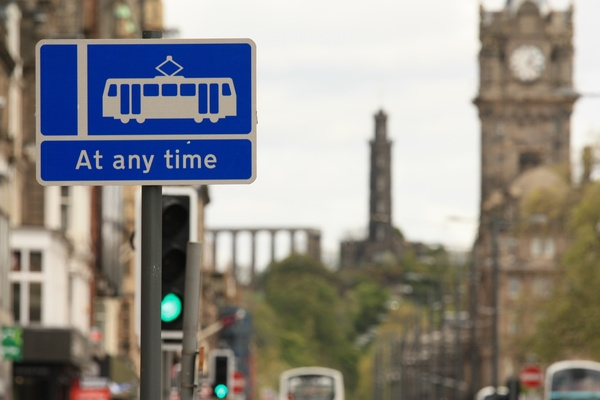 Princes Street Trams: View of Princes Street, Edinburgh, with a warning sign for the new trams