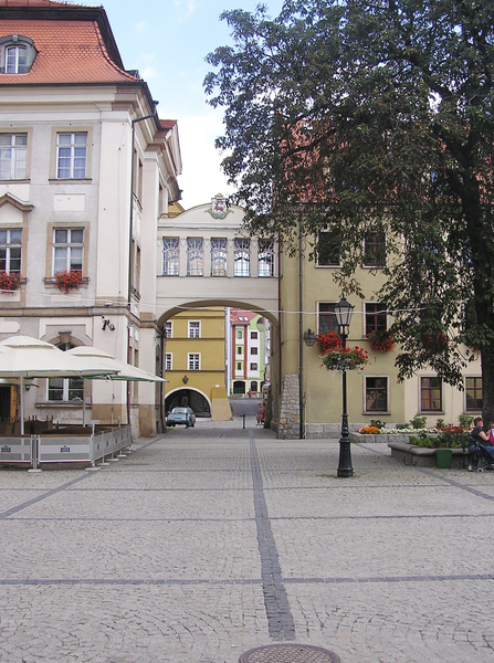 Town archway: A town square and an arch over the street. Jelenia Góra, Poland