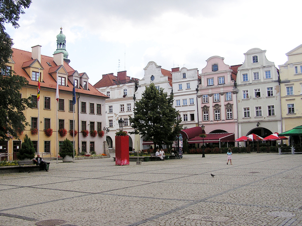 Town center: A center of a town (Jelenia Góra). Old houses, restaurants and halls.