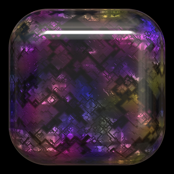 Graphical Web Button 7: Shiny, multicoloured rounded square web button. Iridescent metallic opalescent fill, black background.