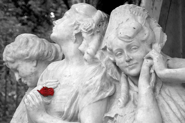 Statue of the 3 Love Stages: The 3 love stages: hope, passion and deception. From the Maria Luisa Garden of Seville.Original in greyscale with a 'recoloured' red flower.