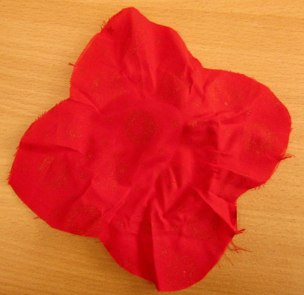 Christmas cloth4: cut piece of red Christmas cloth