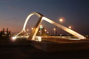 Barqueta's Bridge, Seville: A classical view in Seville. Designed by Santiago Calatrava for the Expo 92.
