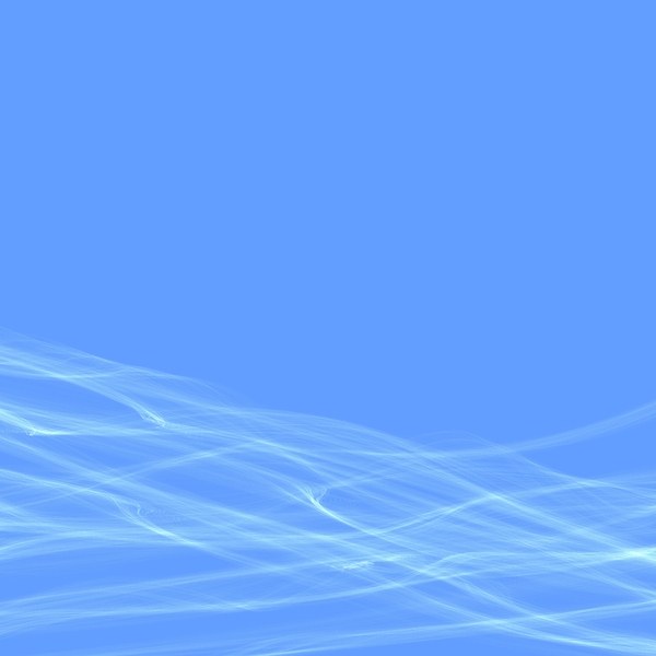 White Waves on Blue 1: White waves of smoke or gossamer against a plain blue background. Square shape.