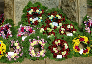 memorial floral tributes2: flowers placed at war memorial