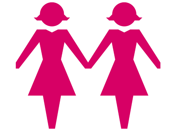 Same Sex Couple - Female 1: Female same sex couple in pink.