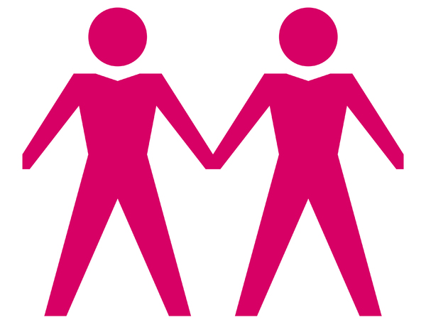 Same Sex Couple - Male 1: Gay male couple in pink.