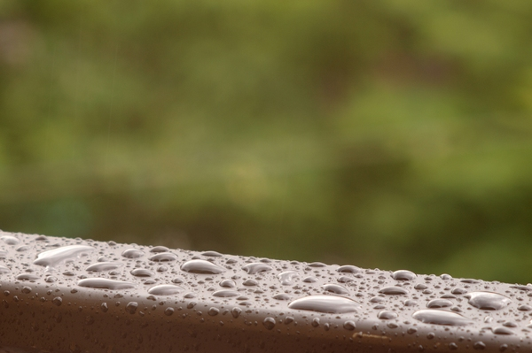 Rain, drops and railing
