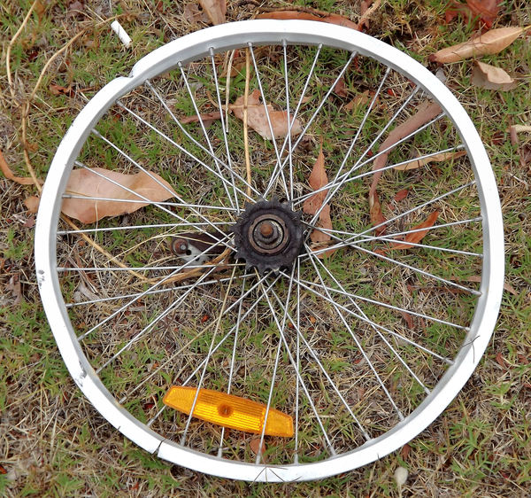 unwanted wheel1: discarded unwanted damaged bicycle wheel