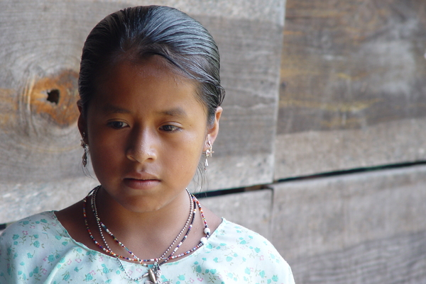 Indian beauty: A beautiful indian girl from the qeqchi  aethnia in Carcha, Guatemala
