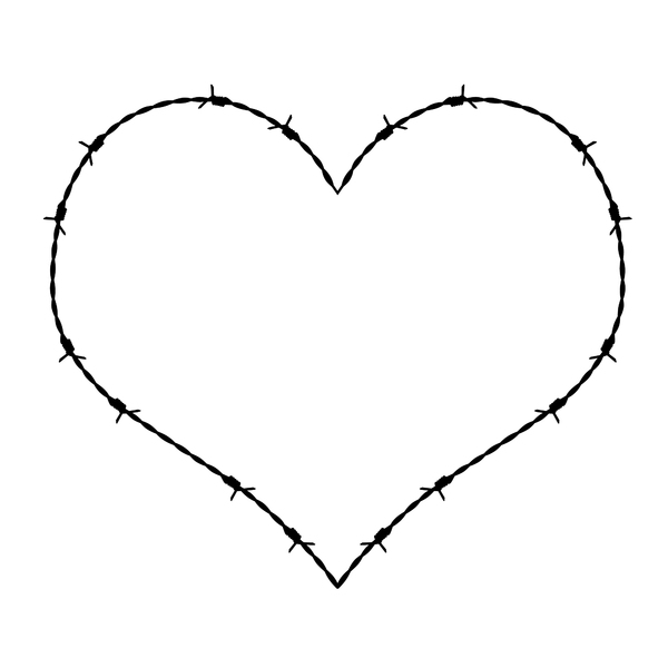 Love Hurts2: a heart made out of barbed wire, ouch....