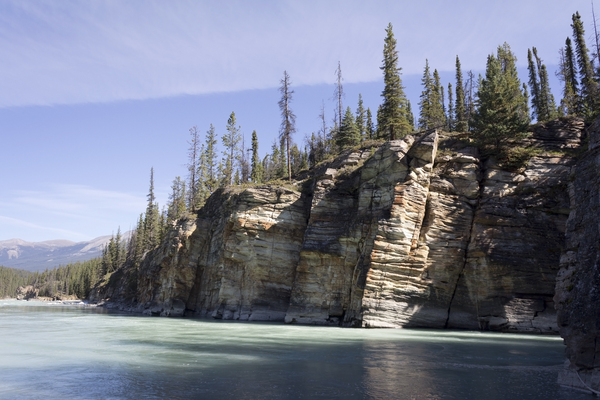 River cliffs: Riverside cliffs in the Rockies, Canada.