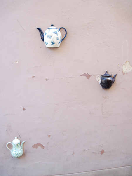 Wall with teapots